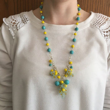 Turquoise Necklace, Yellow Necklace, Statement Necklace, Beaded Necklace, Bridesmaid Necklace, Floral Necklace, Spring Necklace