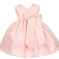 Sweet Kids Baby-Girls Criss Cross Bow Dress 6M (Small) Pink (Sk B931)