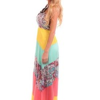 Coral Mint and Yellow Strapless Maxi Dress