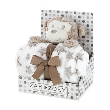 ZAK AND ZOEY PLUSH ANIMAL AND BABY BLANKET SET - Monkey