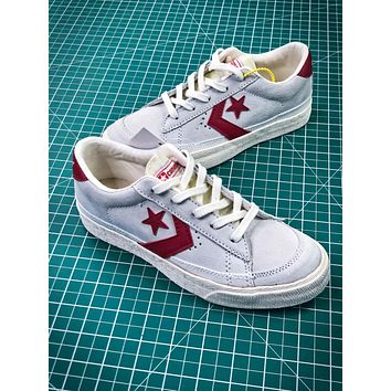 Converse Canvas Chevronstar Ox Grey White Red Shoes - Sale
