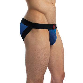 Jack Adams Power Jock Lifter Brief W-jock Strap Comfort & Stability Black-royal Lg