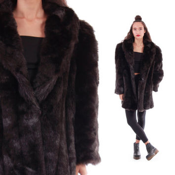 80s Brown Faux Fur Coat Shaggy Fake Fur Thick and Warm Vintage Winter Outerwear Boho Hipster Clothing Womens Size XL