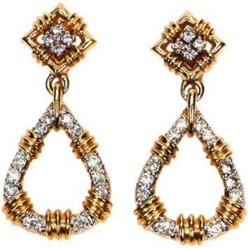 Vintage Panetta Rhinestone Earrings, Dangling, Clip On, Door Knocker Style, Designer Jewelry