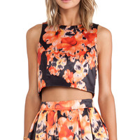 Bardot Wall Flower Top in Orange