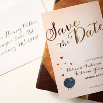 Harry Potter wedding invitation Save the Date, Wedding Stationery, Wedding Invitation, Gold foil invitation - DEPOSIT