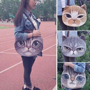 Cute 3D Cat Face Zipper Tote Shoulder School Shopper Bag Handbag