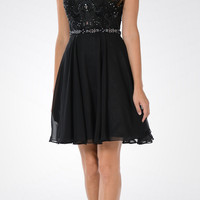 CLEARANCE - Black V-neck Bead Applique Bodice Knee Length Cocktail Dress (XL)