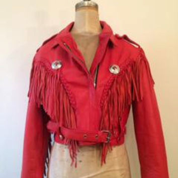 The Alexandria | Women's Red Leather Fringe Motorcycle Jacket  by wolf and lamb