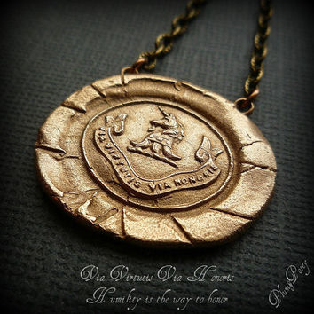 Honor Wax Seal Necklace in Bronze Unicorn by PlumAndPoseyInc