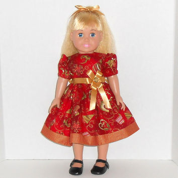 American Girl Doll Christmas Red Dress with Metallic Gold Trim