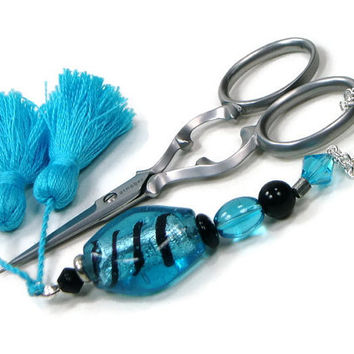 Scissor FobScissor Keeper Scissor Minder Aqua Blue Black Quilting Cross Stitch Needlepoint Sewing