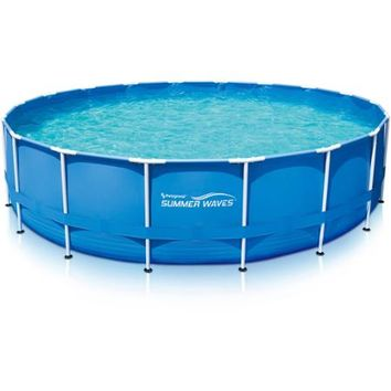"Summer Waves 18' x 48"" Round Metal Frame Above Ground Swimming Pool with Deluxe Accessory Set - Walmart.com"