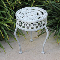 Shabby chic tabletop iron plant stand painted white