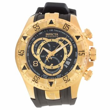 Invicta 80639 Men's Excursion Reserve Chronograph Black Dial Gold Tone Steel Rubber Strap Dive Watch