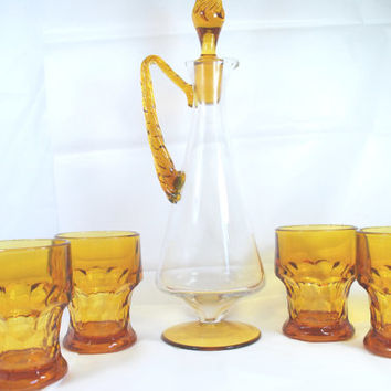 Glass Carafe and Low Ball Gold Amber Scotch Double Bottom Glasses Mad Men Style Bar Set