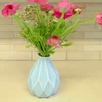 Geometric vase Light blue ceramic Origami inspired Gift idea For her & for him Contemporary style Home decor
