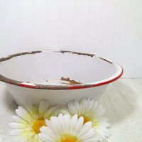 Antique Red on White EnamelWare Round Metal Basin - Vintage Red Trim Porcelain Mixing Bowl - FarmHouse Chippy Paint Decor - Very Rustic Bowl