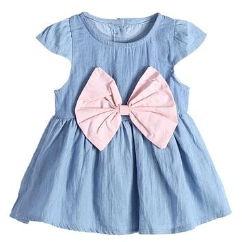 Fashion Summer Baby Toddler Kids Girls Dresses Clothes Denim Dress Large Bow knot Casual Princess Dress For Girls