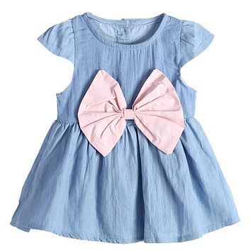 Summer Baby Girl Dress Clothes Denim Casual Cute Large Bowknot Princess Dress For Girls Baby Clothing