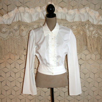 White Cotton Blouse Crop Blouse Tuxedo Blouse Ruffle Front Long Sleeve White Button Up White Cotton Shirt Crop Top Medium Womens Clothing