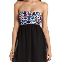 Bow-Front Aztec Print Strapless Dress - Black Combo