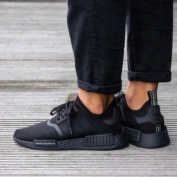 Sale Adidas NMD R1 Primeknit Triple Black BZ0220 Boost Sport Running Shoes Classic Casual Shoes Sneakers