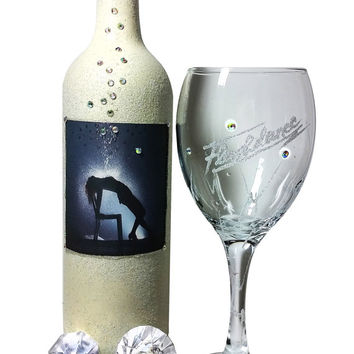Flashdance Gift set, Wine glass & Wine bottle candle holder....ONE OF A KIND