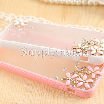 Fashion cherry crystal case For iPhone 4S/5S/5C TPU Soft cell Phone case for iPhone 6 Or iPhone6 Plus cover