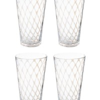 LATTICE GLASSWARE - Tumbler - White - S/4