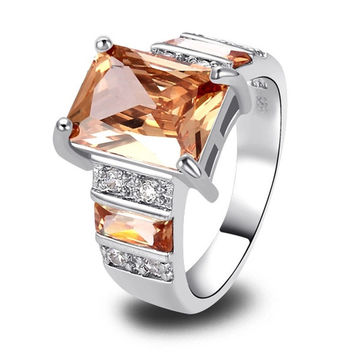 High Grade Emerald Cut Morganite & White Topaz Gemstones Silver Ring Size 7 8 9 10 11 12 = 1946497540
