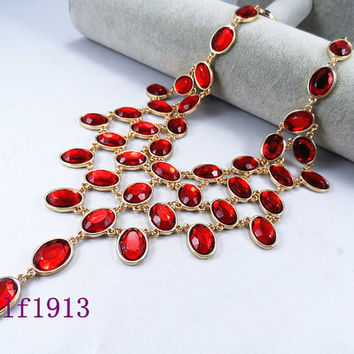 NEW J. Crew Style Inspired Bib Necklace ,Statement Necklace, wedding party bridesmaid gifts,  flower necklace, / Clear Red