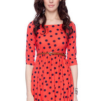 Right Spots Belted Dress in Coral :: tobi