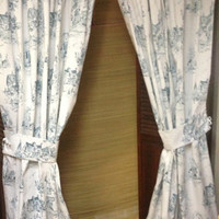 Handmade Curtain Floor Length Toile Summer Hill Rosewarne Teal Fabric
