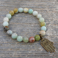 Positivity, Multi Tone Genuine Amazonite Gemstone Mala Bracelet