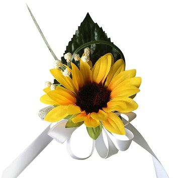 Pin Corsage - Sunflower with Greenery and Baby Breath - PICK RIBBON COLOR