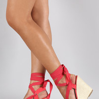 Breckelle Suede Round Toe Ankle Wrap Espadrille Wedge