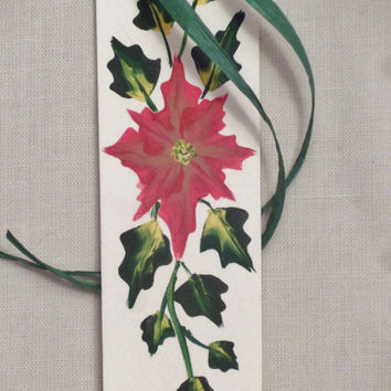 Poinsettia holiday bookmark w/ green vines; Red & mauve flower paper bookmark; holiday hand painted bookmark; stocking stuffer