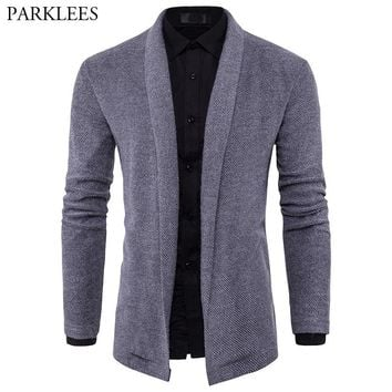 Gray Sweater Men 2017 Brand New Shawl Collar Sweater Slim Fit Mens Knitted Cardigans Sweaters Male Casual Chompas Para Hombre