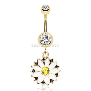 Golden Daisy Blossom Flower Belly Button Ring (Clear/White)
