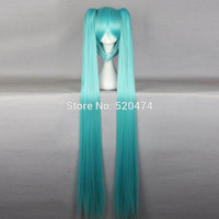 "Top Wig 2016 Queen Hair 130cm 51"" Miku Cos Split Wig Hatsune Miku + 2 Clip On Ponytail Cosplay Hot Selling Heat Resistent Wigs"
