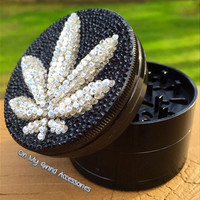 Swarovski Crystal Santa Cruz Shredder 3D Pot Leaf Grinder