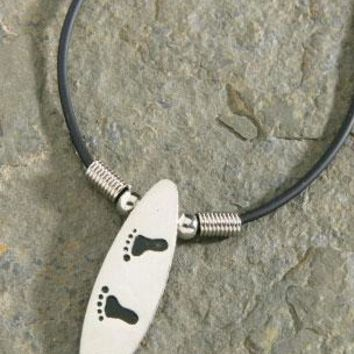 Pewter Small Surfboard with Feet Rubber Cord Necklace