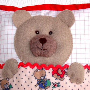 Bear cushion, Teddy cushion, Soft bear pillow,  Soft cuddling toy for your baby, Child friendly, Nice gift for a little girl or  boy