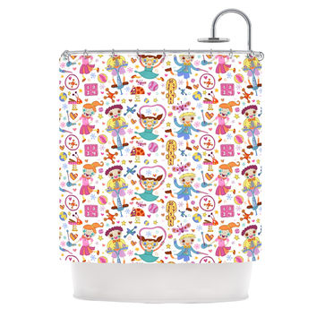 "Jane Smith ""Vintage Playground IIII"" White Rainbow Shower Curtain"
