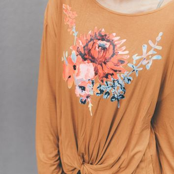 Boho Bouquet Twist Front Top