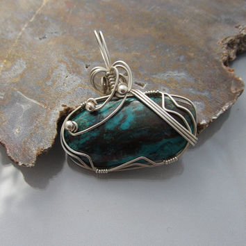 Wire Wrapped Chrysocolla Pendant