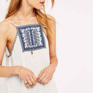 Ecote Bali Embroidered Tank Top in Ivory - Urban Outfitters