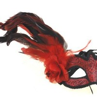 RedSkyTrader Womens Feathered Colorful Party Mask