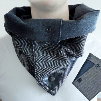 Multifunctional Gray and Black Men Women Unisex soft WOOL Cozy Scarf Cowl Hood with natural Leather and Snaps .
